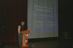 Marine geologist John Harper speaking at the 2002 Kachemak Bay Science Conference