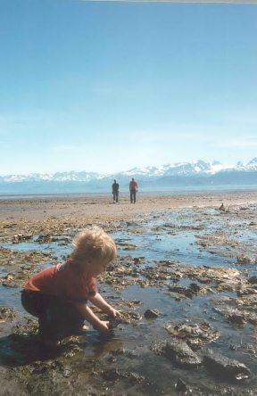 Toddler exploring Bishops Beach in Homer